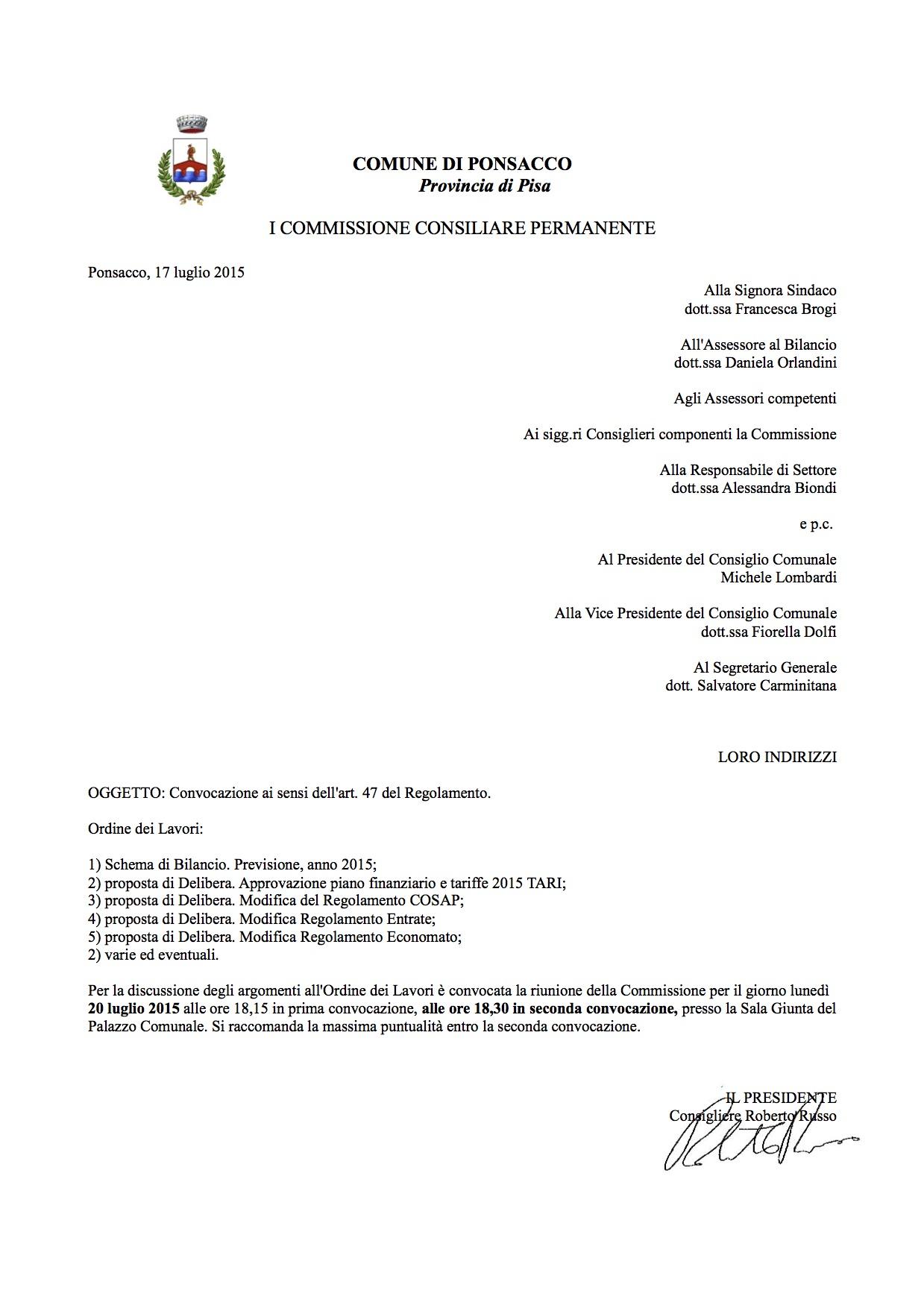 CONVOCAZIONE I COMMISSIONE 20072015