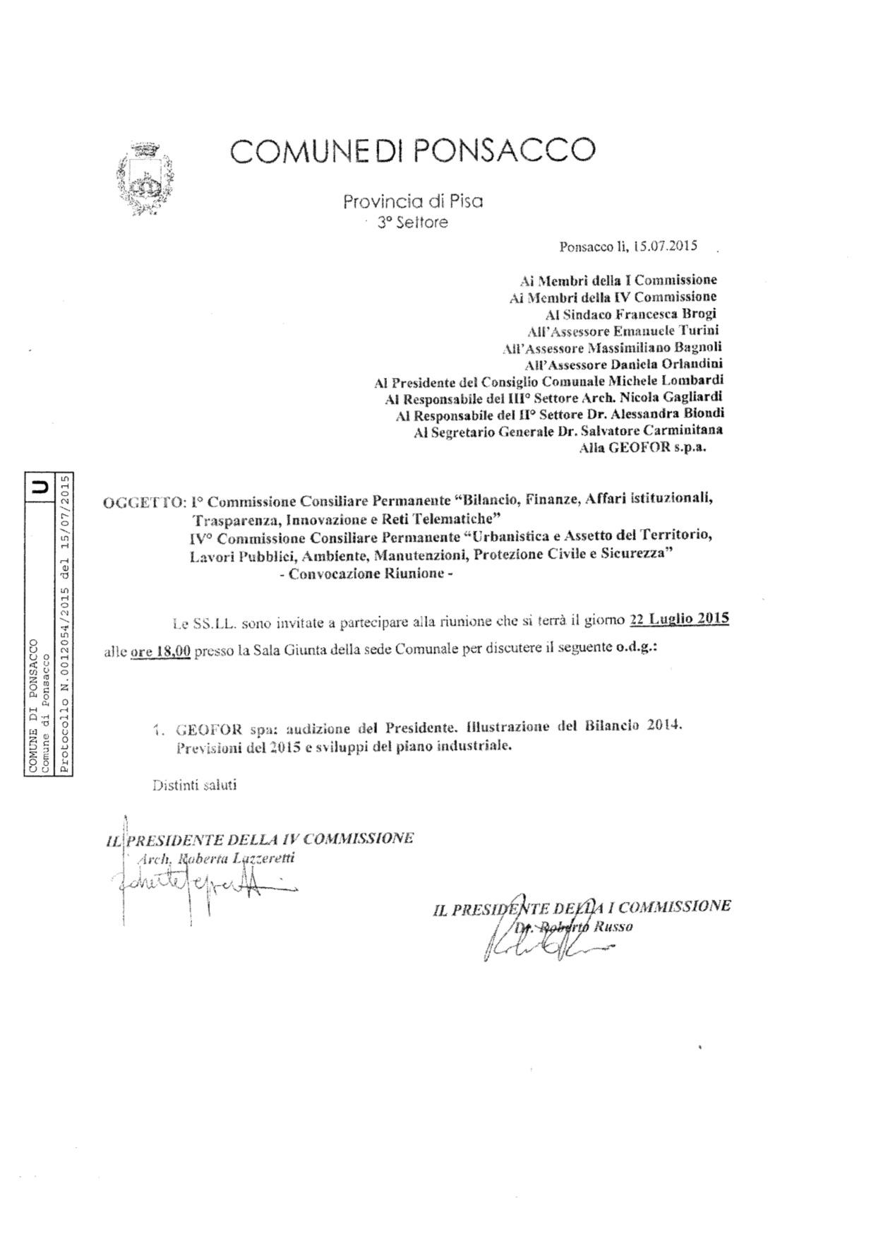 Convocazione Commisione I e IV_22.07.2015 prot.12054