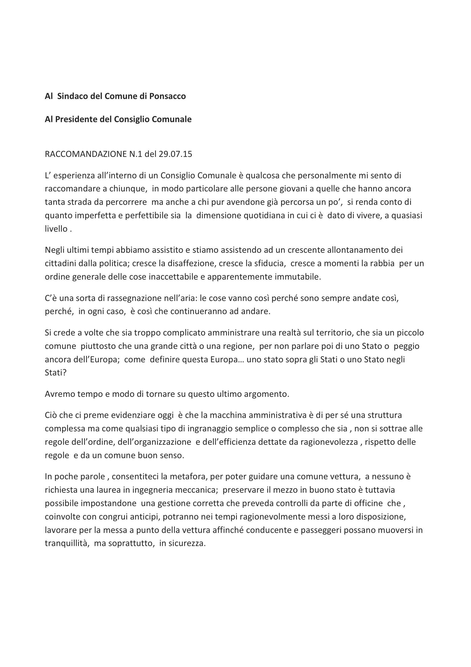 raccomandazione 29-7-2015-1