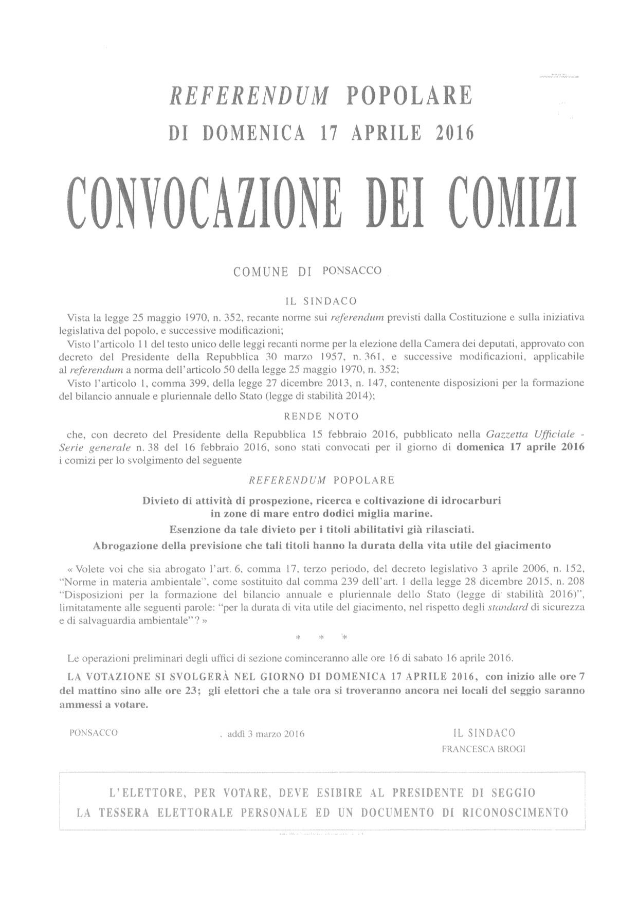 REFERENDUM MANIFESTO CONVOCAZIONE DEI COMIZI